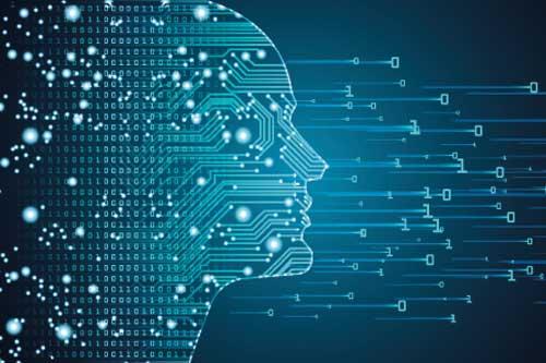 Maschinelles Lernen und Cyber-Mind-Dominanz-Konzept in Form von Männern-Umriss mit Schaltkreis und binären Datenfluss auf blauem Hintergrund